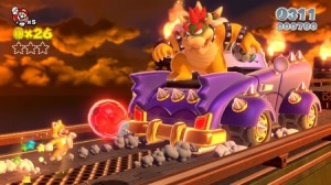 Bowser got a new car, you must destroy it with football/soccer ball bombs!