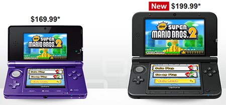 Prices for the Nintendo 3DS and 3DS XL
