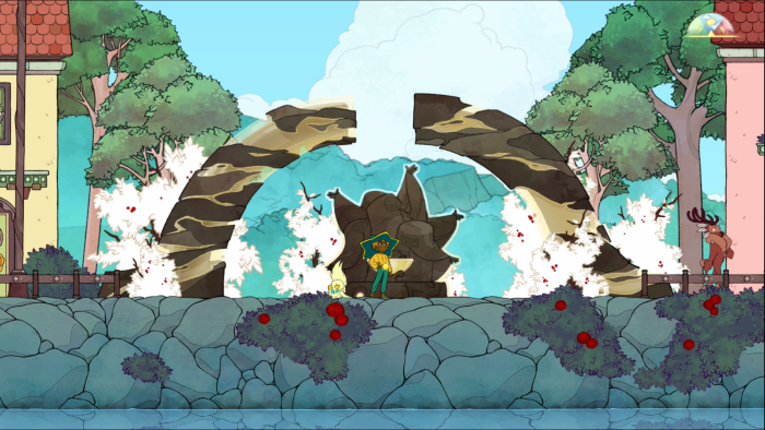 Stella observes a mysterious shrine that grants abilities with obol in Spiritfarer