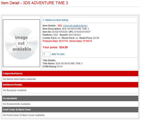 Adventure Time 3 Release Date and Price leak
