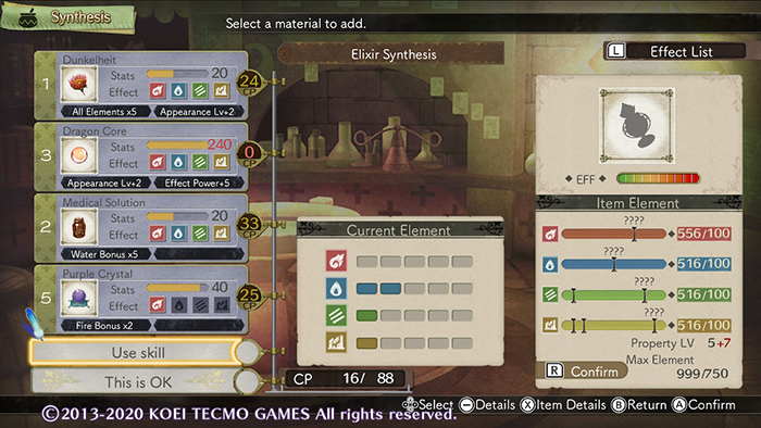 Making an OP Elixir in Atelier Escha & Logy: Alchemists of the Dusk Sky DX