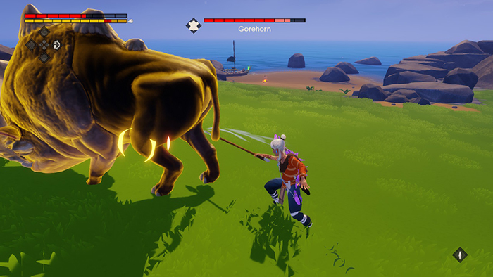 Attacking a beast with the spear in Windbound