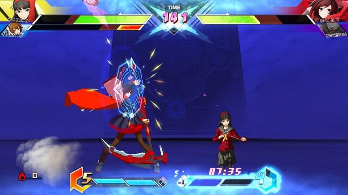 Yukiko Amagi throws a fan that Ruby Rose blocks in BBTAG.