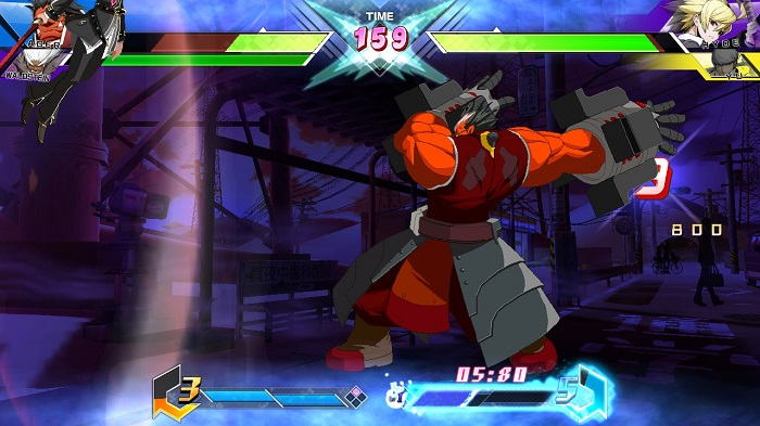Iron Tager throws Hyde Kido into a wall in BBTAG.