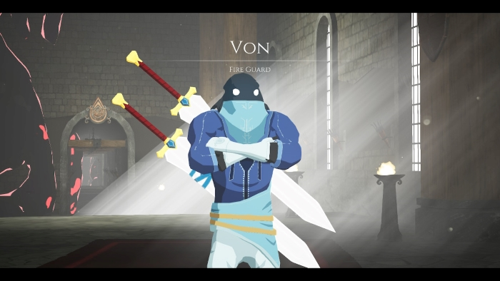 Von from the game Blue Fire on Nintendo Switch, the first NPC