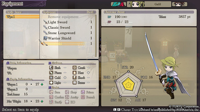 Character equip screen - The Alliance Alive HD Remastered