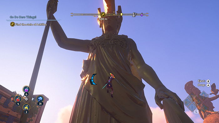 Climbing up high statue in Immortals Fenyx Rising