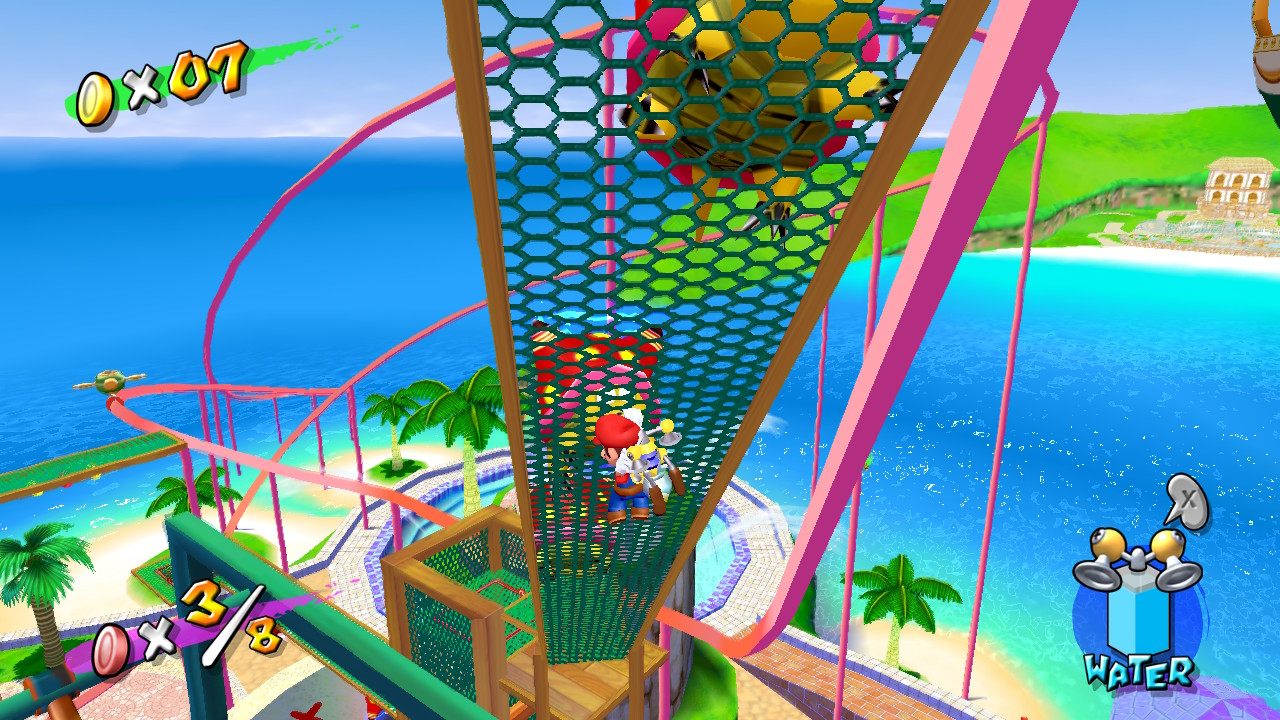 Climbing in Super Mario Sunshine on the Nintendo Switch