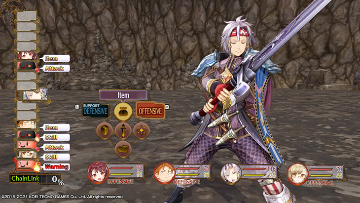 Combat Option Selection Screen in Atelier Sophie DX