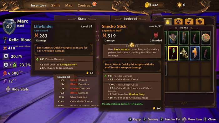 Comparing gear in Torchlight 3