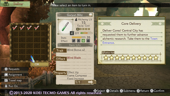 Completing the Core Delivery assignment in Atelier Escha & Logy: Alchemists of the Dusk Sky DX