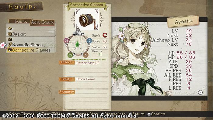 Corrective Glass in Atelier Ayesha: The Alchemist of Dusk DX