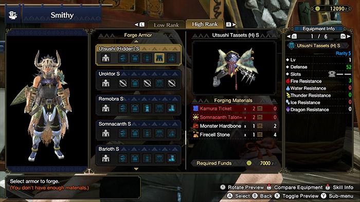 Crafting Armor in Monster Hunter Rise
