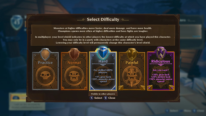 Difficulty Modes in Torchlight III