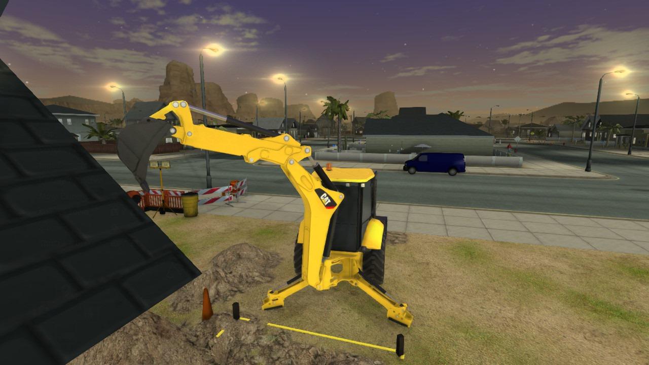 Shows gameplay of machine digging out dirt