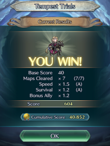 Winning screen