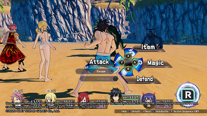 Action Selection Screen in Fairy Tail Game