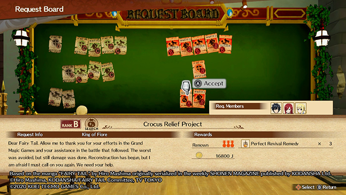 Guild Quest Board in Fairy Tail Game
