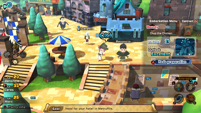 Friends visiting the town in Snack World: The Dungeon Crawl - Gold