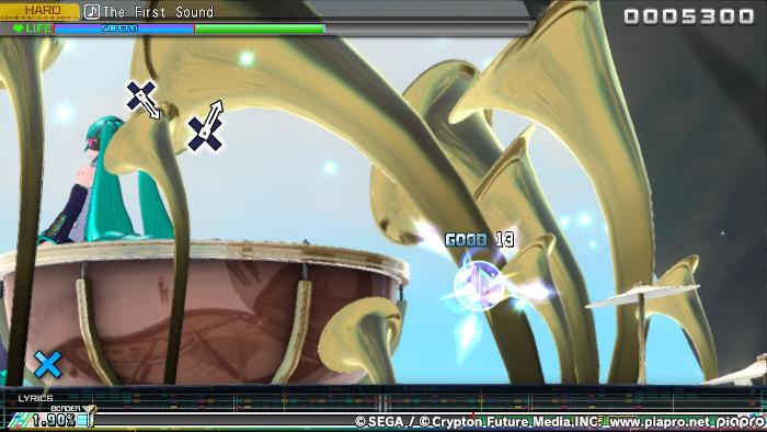 Playing Arcade Mode on Hard, Hatsune Miku: Project DIVA Mega Mix