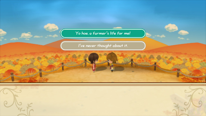 Answering questions during a heart event in Story of Seasons: Friends of Mineral Town