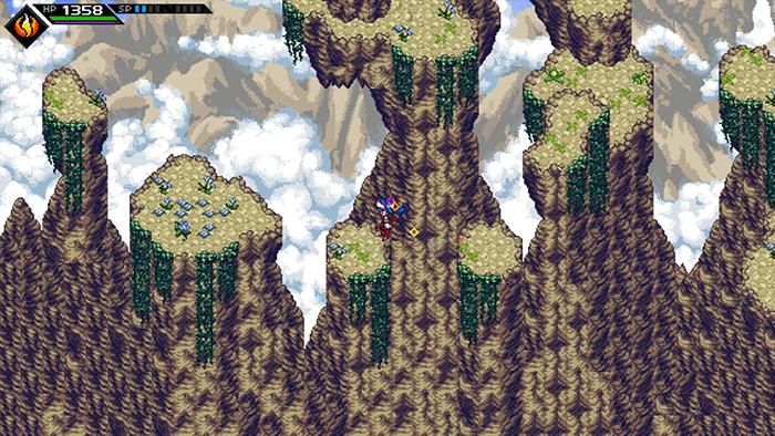Jumping from pillar to pillar in CrossCode