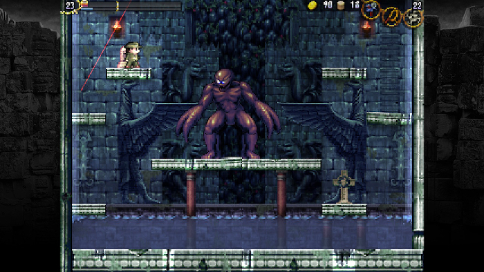 Battling an enemy in LA-MULANA.