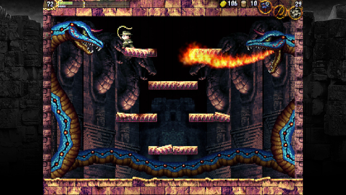 Battling a Guardian in LA-MULANA.