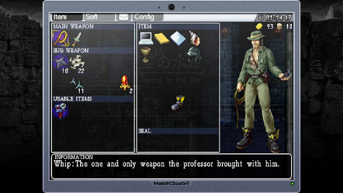 Settings Screen in LA-MULANA.
