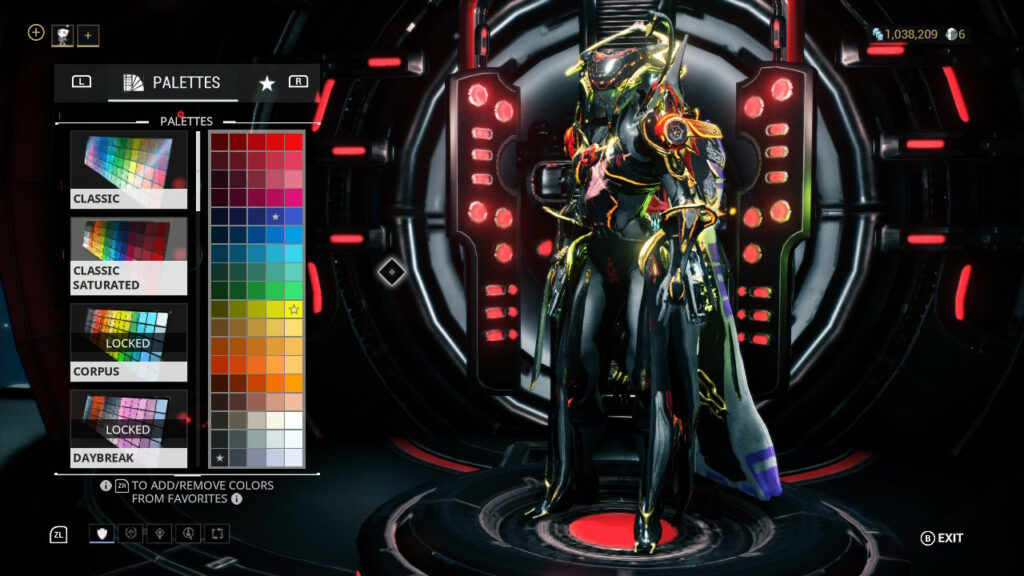 Large Unclockable Color Palette Options fpr both Warframes and weapons