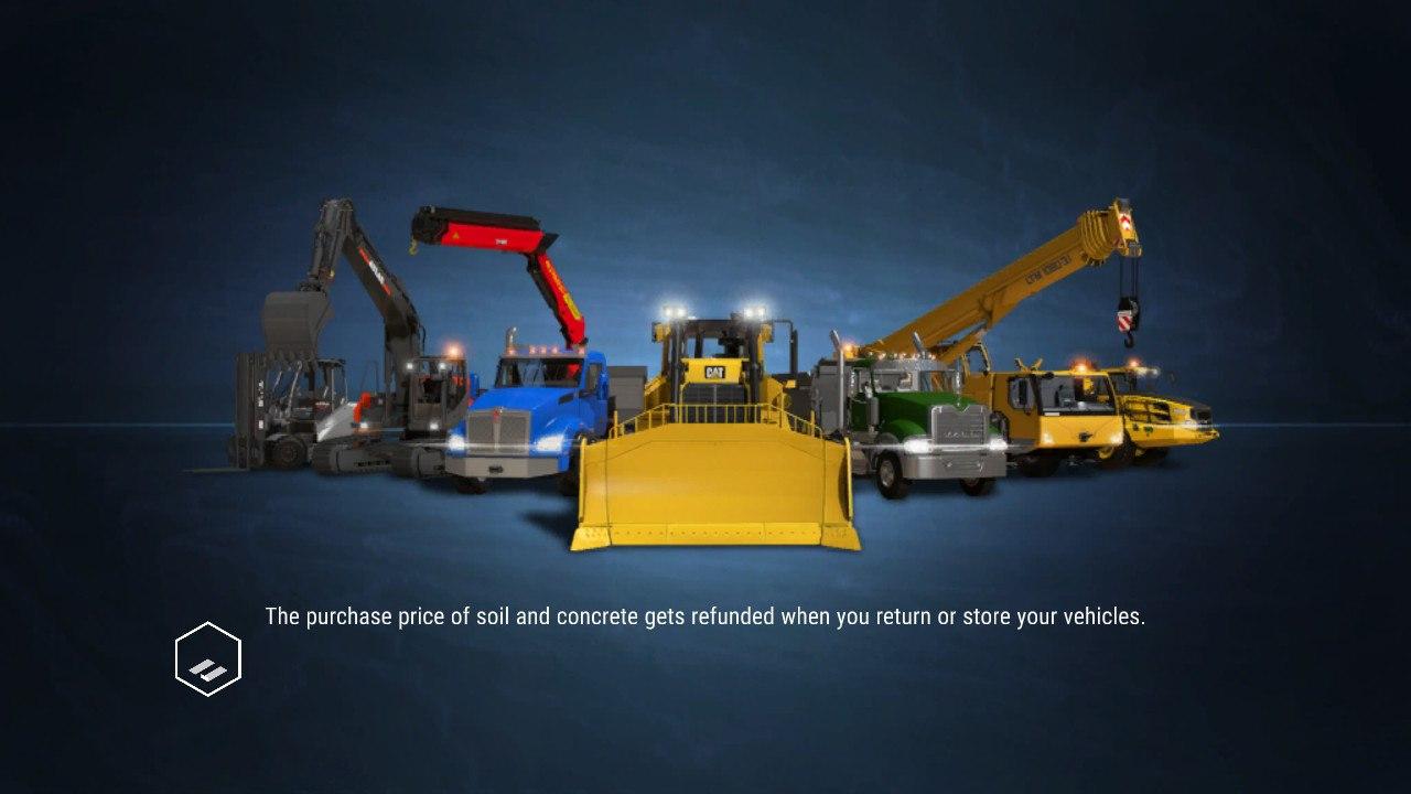 Loading menu shows machinery