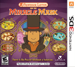Professor Layton and the Miracle Mask 3DS Game Box Cover Art