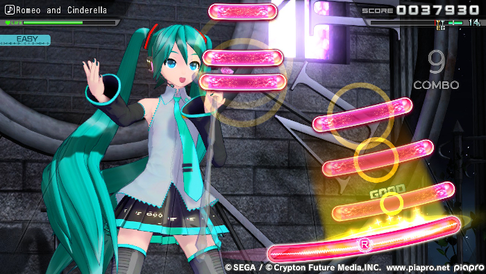 Playing Mix Mode on Easy in Hatsune Miku: Project DIVA Mega Mix