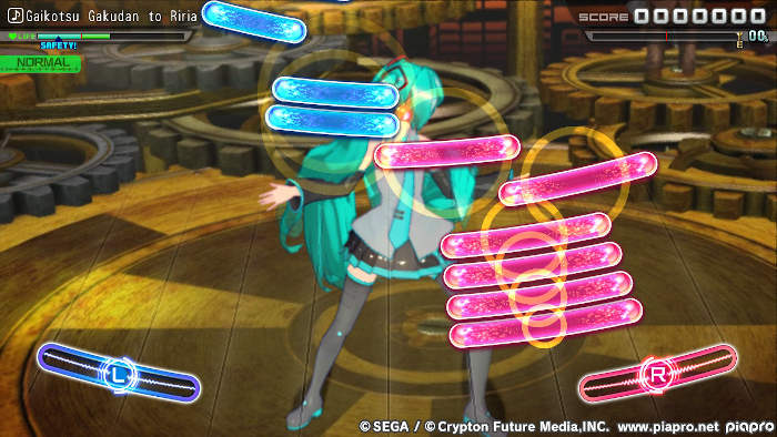 Playing Mix Mode on Normal in Hatsune Miku: Project DIVA Mega Mix