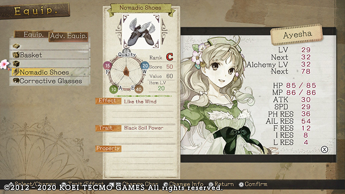 Best Nomadic Shoes in Atelier Ayesha: The Alchemist of Dusk DX