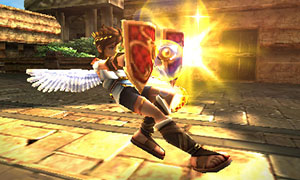 Pit using a shield in Kid Icarus: Uprising