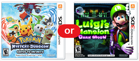 Pokemon Mystery Dungeon: Gates To Infinity or Luigi's Mansion Dark Moon