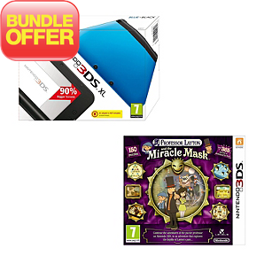 Blue/Black 3DS XL with Professor Layton and the Miracle Mask Bundle