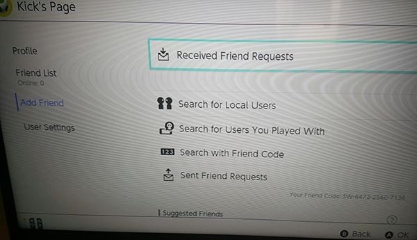 Receive friend request - Nintendo Switch