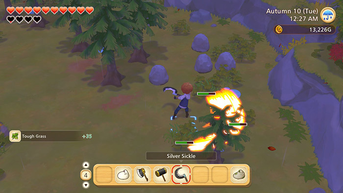 Using the silver sickle in Story of Seasons: Pioneers of Olive Town
