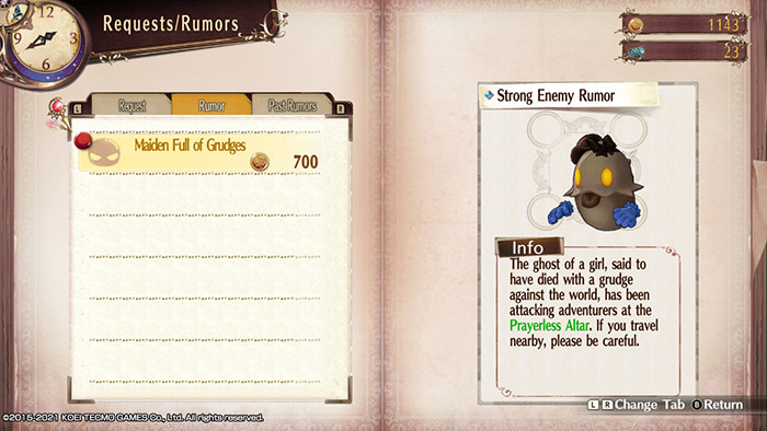 Strong Enemy Rumor in Atelier Sophie: The Alchemist of the Mysterious Book DX