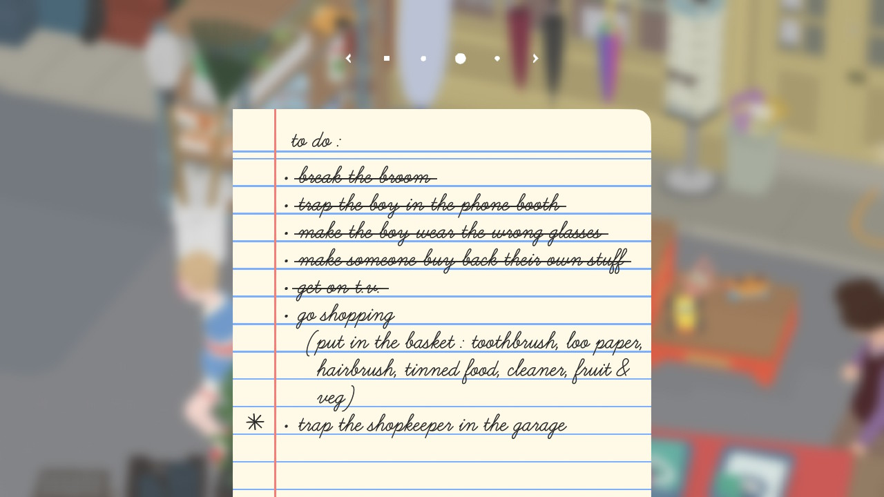 To do list in Untitled Goose Game