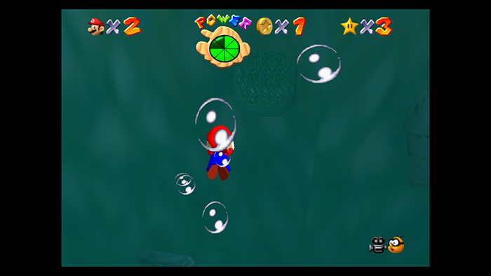 Underwater in Super Mario 64 on the Nintendo Switch