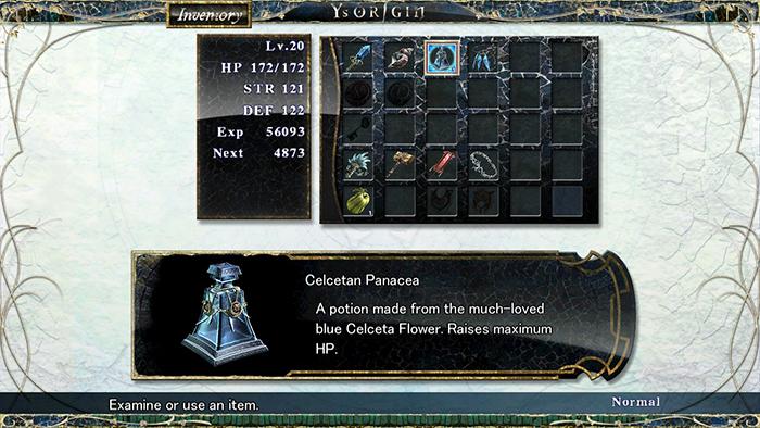 Inventory in Ys Origin