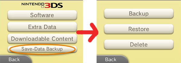 Nintendo 3DS - Save, Delete, or Backup Save Data