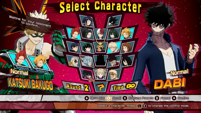 Character Select in My Hero: One's Justice