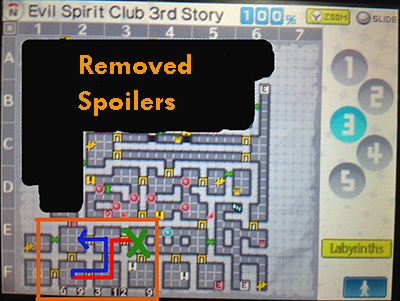 Correct order to walk through the rooms to unlock the door in the 3rd floor of the Evil Spirit Club in Persona Q