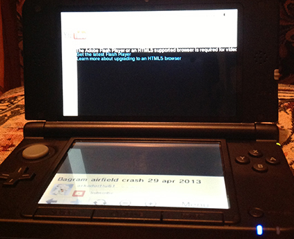 Nintendo 3DS XL Adobe Flash and HTML 5 Video Error