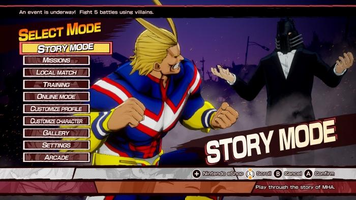 Main Menu of My Hero: One's Justice