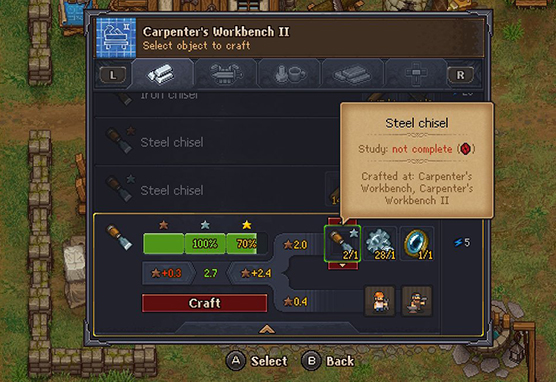 Making a gold quality steel chisel in Graveyard Keeper